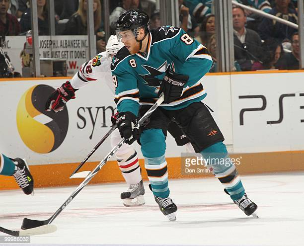 Joe Pavelski of the San Jose Sharks skates with the puck in Game One of the Western Conference Finals during the 2010 NHL Stanley Cup Playoffs...