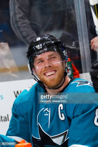 Joe Pavelski of the San Jose Sharks smiles after defeating the Dallas Stars at SAP Center on February 18 2018 in San Jose California