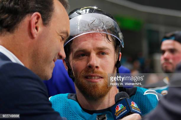 Joe Pavelski of the San Jose Sharks speaks with the media after defeating the Dallas Stars at SAP Center on February 18 2018 in San Jose California