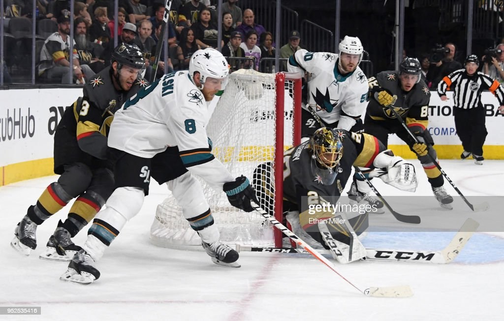 Joe Pavelski #8 of the San Jose Sharks takes a shot against Marc-Andre Fleury #29 of the Vegas Golden Knights as Brayden McNabb #3 of the Golden Knights defends in the first period of Game Two of the Western Conference Second Round during the 2018 NHL Stanley Cup Playoffs at T-Mobile Arena on April 28, 2018 in Las Vegas, Nevada.