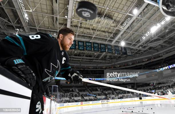 Joe Pavelski of the San Jose Sharks takes the ice for warmups against the Vancouver Canucks at SAP Center on November 23, 2018 in San Jose, California