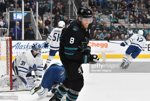 Joe Pavelski of the San Jose Sharks turns away frustrated against the Toronto Maple Leafs at SAP Center on November 15 2018 in San Jose California