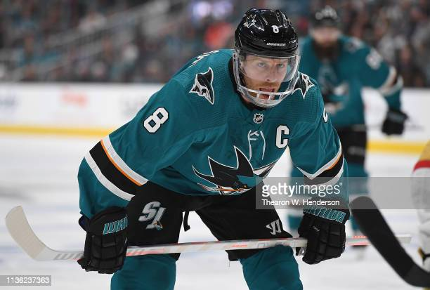 Joe Pavelski of the San Jose Sharks wears a new guard on his helmet against the Vegas Golden Knights during the second period in Game One of the...