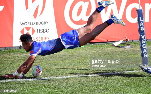 Joe Perez of Samoa dives for a ball that was kicked into the try zone during a match against Argentina during the USA Sevens Rugby tournament at Sam...