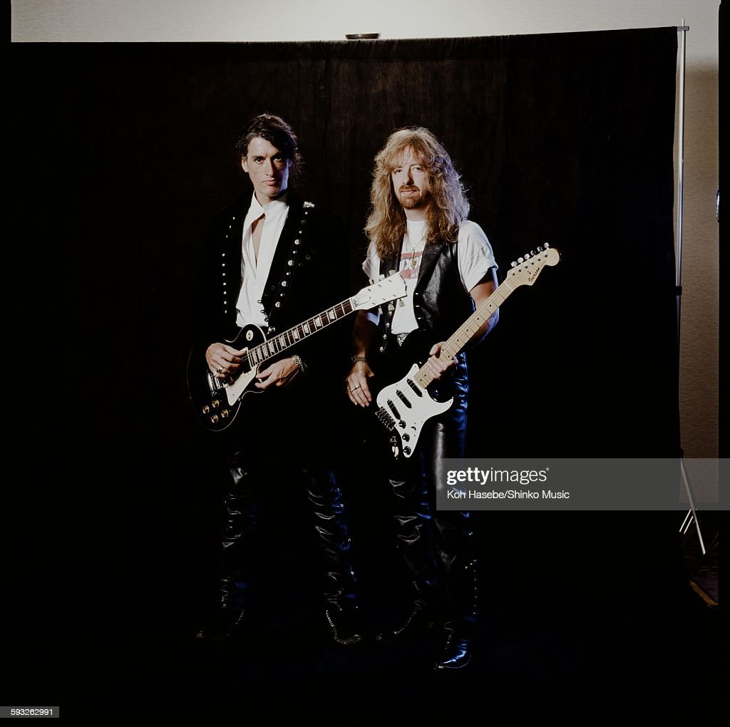 Joe Perry And Brad Whitford Aerosmith In Photo Session At A Hotel : News Photo