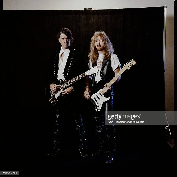 Joe Perry and Brad Whitford Aerosmith in photo session at a hotel Tokyo September 19 1990