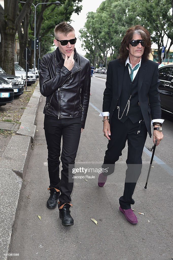Joe Perry and Roman Perry attend the Emporio Armani show during Milan Menswear Fashion Week Spring Summer 2015 on June 23, 2014 in Milan, Italy.
