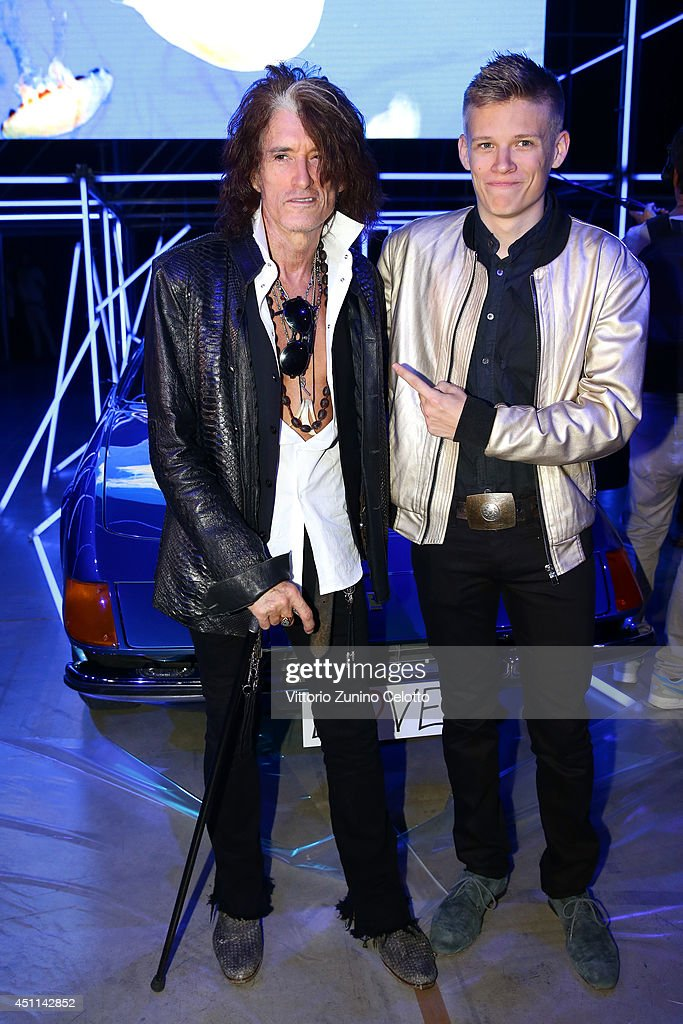 Joe Perry and Roman Perry attend the Roberto Cavalli show during the Milan Menswear Fashion Week Spring Summer 2015 on June 24, 2014 in Milan, Italy.