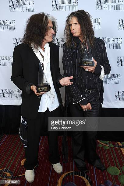 Joe Perry and Steven Tyler of Aerosmith attend the Songwriters Hall of Fame 44th Annual Induction and Awards Dinner at the New York Marriott Marquis...