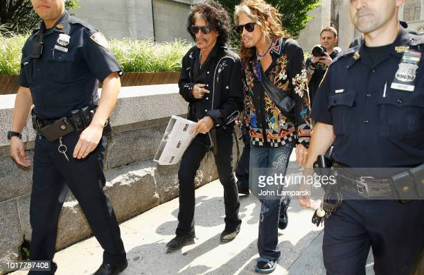Joe Perry and Steven Tyler of Aerosmith depart for the Tonight Show appearance on August 16 2018 in New York City