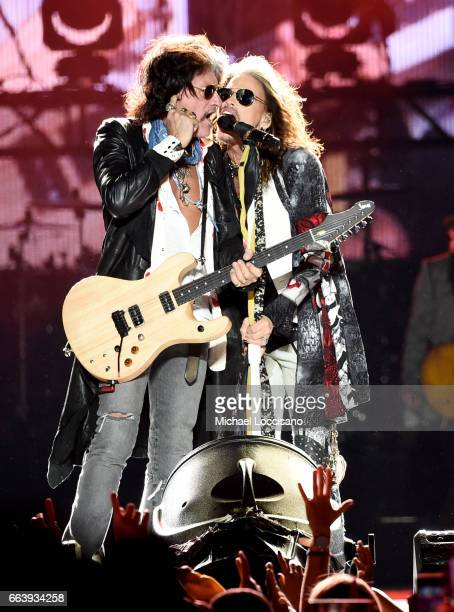 Joe Perry and Steven Tyler of Aerosmith perform at the Capital One JamFest during the NCAA March Madness Music Festival 2017 on April 2, 2017 in...