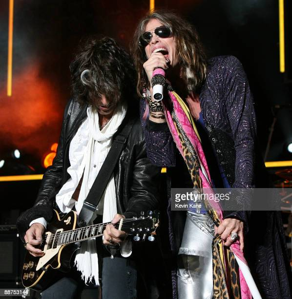 Joe Perry and Steven Tyler of Areosmith perform in concert at Nikon at Jones Beach Theater on June 26 2009 in Wantagh New York