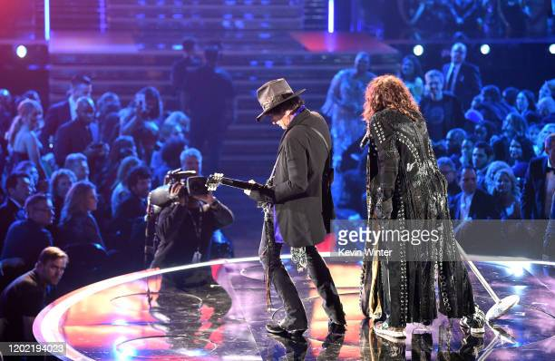 Joe Perry and Steven Tyler of music group Aerosmith perform during the 62nd Annual GRAMMY Awards at STAPLES Center on January 26 2020 in Los Angeles...