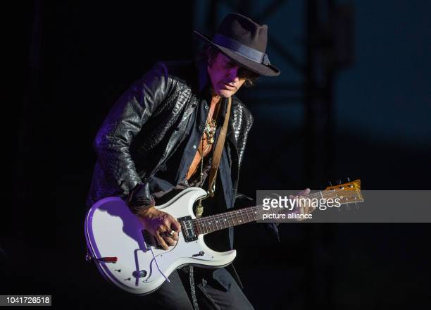 Joe Perry from the 'Hollywood Vampires' stands on stage at Hessian Day in Herborn Germany 29 May 2016 The 'Hollywood Vampires' concert with Johnny...