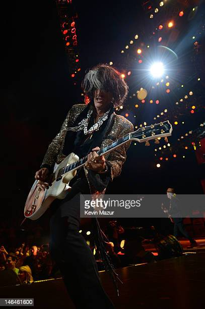 Joe Perry of Aerosmith performs during the opening night of the Global Warming Tour at the Target Center on June 16 2012 in Minneapolis Minnesota