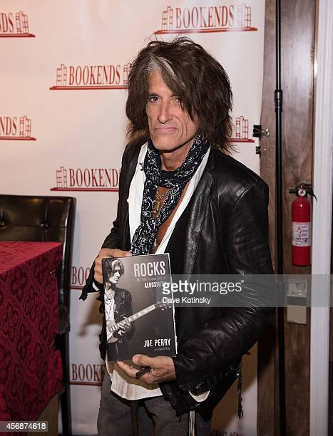 """Joe Perry signs copies of his book """"Rocks"""" at Bookends Bookstore on October 8, 2014 in Ridgewood, New Jersey."""
