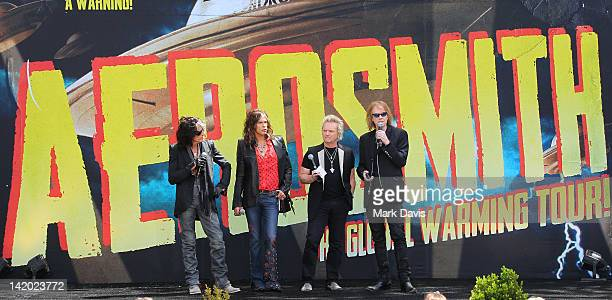 Joe Perry Steven Tyler Joey Kramer and Tom Hamilton of Aerosmith announce their 'The Global Warming' Tour at The Grove on March 28 2012 in Los...