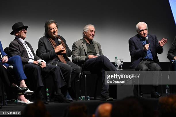 Joe Pesci Al Pacino Robert De Niro and Martin Scorsese at The Irishman press conference during the 57th New York Film Festival at Alice Tully Hall...