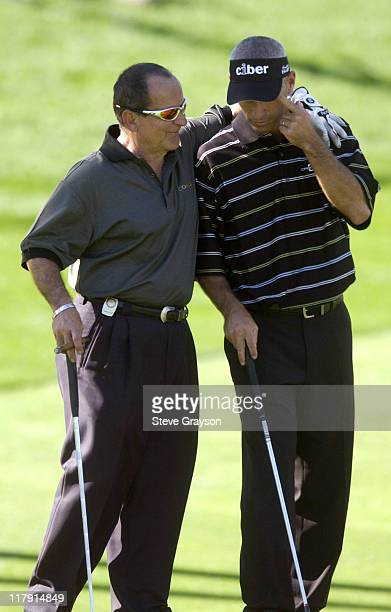 Joe Pesci and Corey Pavin during 44th Bob Hope Chrysler Classic Round One at Indian Wells Country Club in Indian Wells California United States
