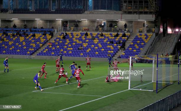 Joe Pigott of AFC Wimbledon scores his sides first goal during the Sky Bet League One match between AFC Wimbledon and Doncaster Rovers at Plough Lane...