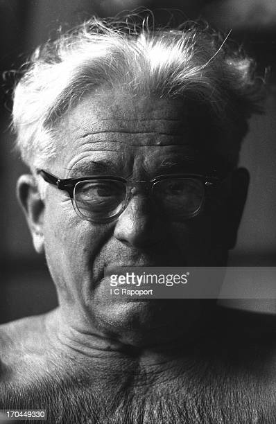Joe Pilates Inventor physical fitness guru and founder of the Pilates exercise method poses for a portrait in his 8th Avenue studio on October 4 1961...