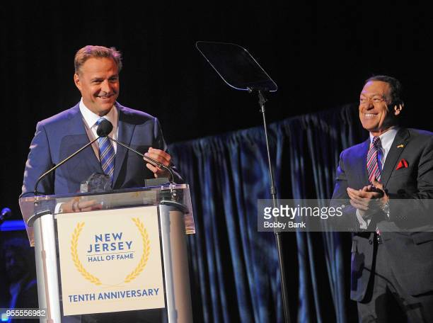 Joe Piscopo and Al Leiter attend the 2018 New Jersey Hall Of Fame Induction Ceremony at Asbury Park Convention Center on May 6 2018 in Asbury Park...
