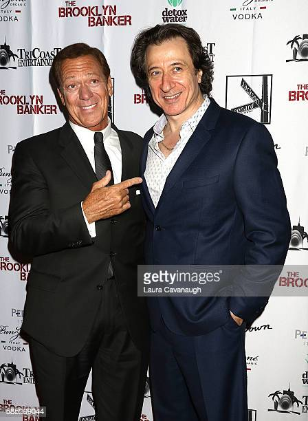 Joe Piscopo and Federico Castelluccio attend 'The Brooklyn Banker' New York Premiere at SVA Theatre on August 2 2016 in New York City