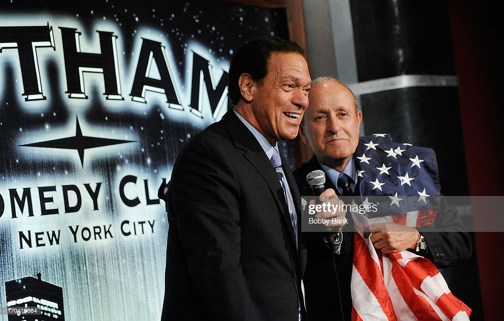 Joe Piscopo and Founder of WTC Tribute Center, Lee Ielpi attends Laughter Saves Lives Comedy Night to Benefit The Tribute 9/11 Visitor Center at Gotham Comedy Club on June 12, 2013 in New York City.
