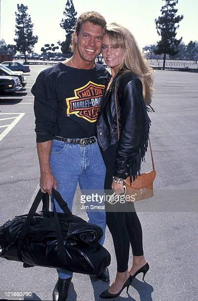 Joe Piscopo and Kimberly Driscoll during Hollywood All Stars Baseball Game August 26 1983 at Dodger Stadium in Los Angeles California United States