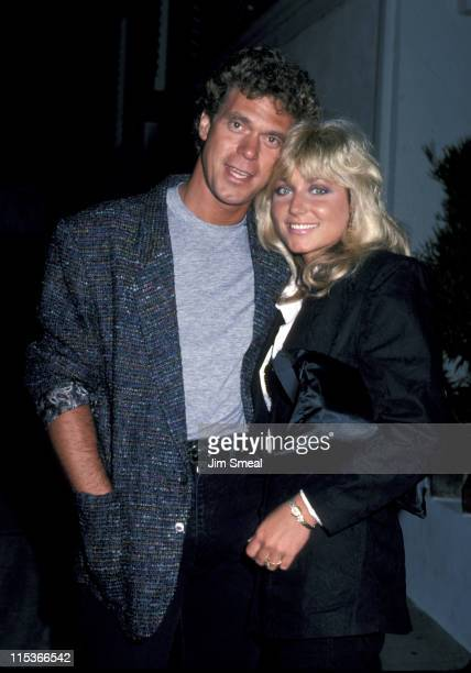 Joe Piscopo and Pamela Bach during Joe Piscopo and Pamela Bach Outside Spago's - October 8, 1985 at Spago's in Los Angeles, California, United States.