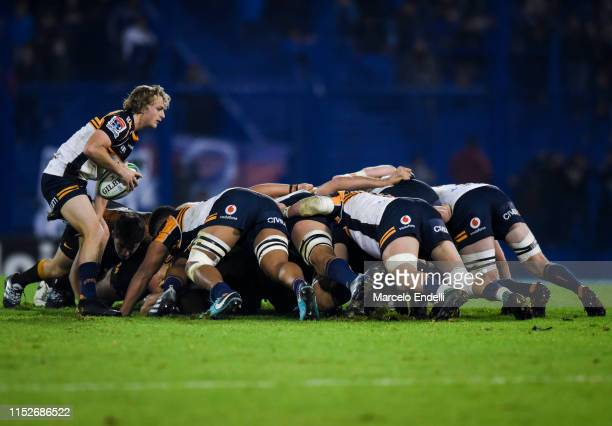 Joe Powell of Brumbies feeds the scrum during a Super Rugby Semi Final match between Jaguares and Brumbies at Jose Amalfitani Stadium on June 28 2019...