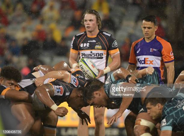 Joe Powell of the Brumbies during a scrum in the round 3 Super Rugby match between the Brumbies and the Highlanders at GIO Stadium on February 15...