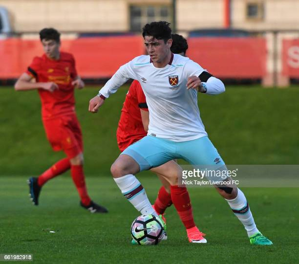 Joe Powell of West Ham United in action during the Liverpool v West Ham United U18 Premier League game at The Kirkby Academy on March 31 2017 in...