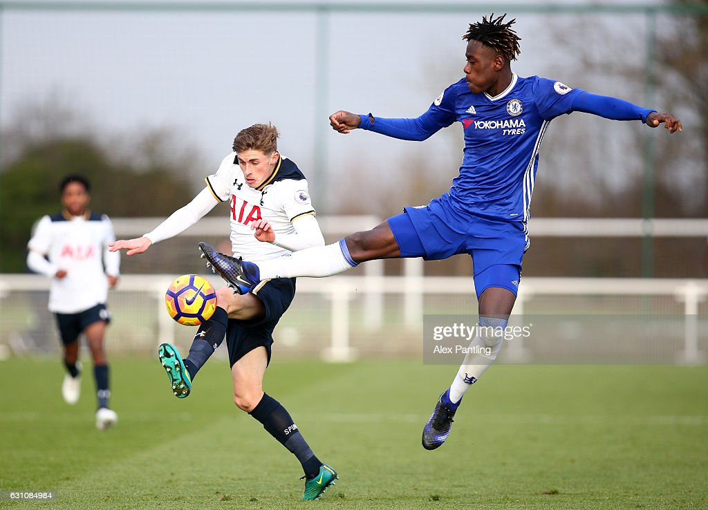 Joe Pritchard of Tottenham Hotspur and Trevoh Chalobah of Chelsea in action during the Premier League 2 match between Tottenham Hotspur and Chelsea at Tottenham Hotspur Training Centre on January 6, 2017 in Enfield, England.