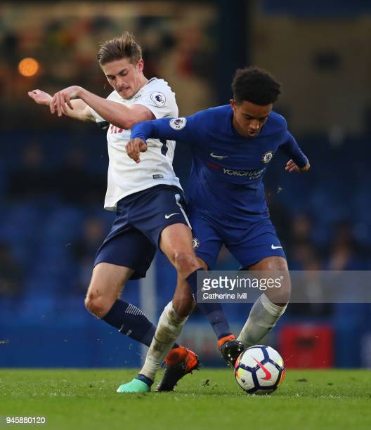 Joe Pritchard of Tottenham Hotspur battles with Jacob Maddox of Chelsea during the Premier League 2 match between Chelsea and Tottenham Hotspur at...