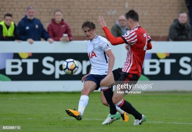 Joe Pritchard of Tottenham Hotspur takes on Donald Love of Sunderland during the Premier League 2 match between Sunderland and Tottenham Hotspur at...