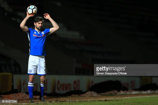 Joe Rafferty of Rochdale takes a throwin during The Emirates FA Cup Fourth Round Replay match between Rochdale AFC and Millwall at Spotland Stadium...