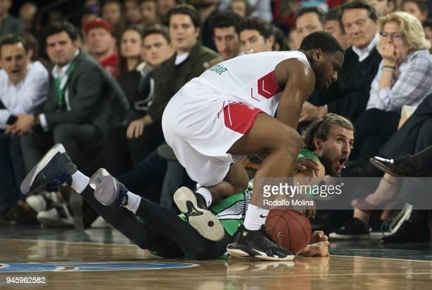 Joe Ragland #3 of Lokomotiv Kuban Krasnodar competes with Dogus Ozdemiroglu #18 of Darussafaka Istanbul during the 7DAYS EuroCup Basketball Finals...