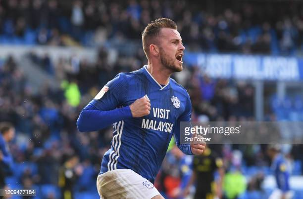 Joe Ralls of Cardiff City celebrates after scoring his sides second goal during the Sky Bet Championship match between Cardiff City and Brentford at...