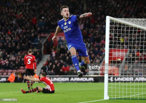 Joe Ralls of Cardiff City celebrates as Kenneth Zohore scores his team's second goal during the Premier League match between Southampton FC and...