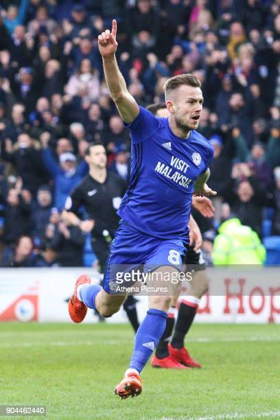 Joe Ralls of Cardiff City celebrates scoring his sides second goal of the match during the Sky Bet Championship match between Cardiff City and...