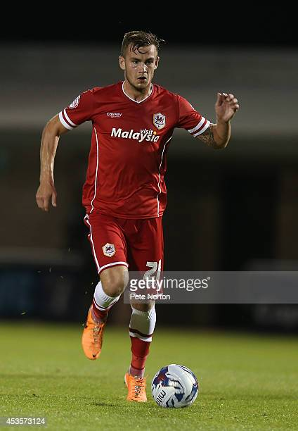 Joe Ralls of Cardiff City in action during the Capital One Cup First Round match between Coventry City and Cardiff City at Sixfields Stadium on...