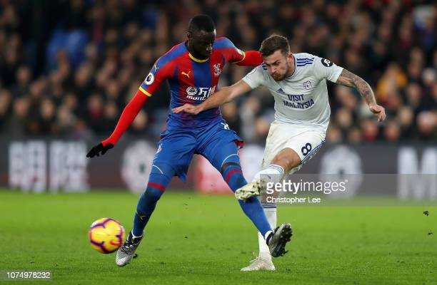 Joe Ralls of Cardiff City is challenged by Cheikhou Kouyate of Crystal Palace during the Premier League match between Crystal Palace and Cardiff City...
