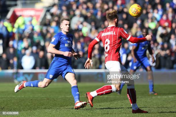 Joe Ralls of Cardiff City marks Josh Brownhill of Bristol City during the Sky Bet Championship match between Cardiff City and Bristol City at the...
