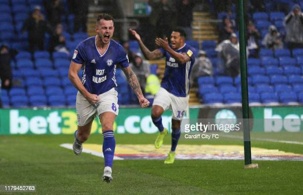 Joe Ralls scores for Cardiff City FC during the Sky Bet Championship match between Cardiff City and Birmingham City at Cardiff City Stadium on...
