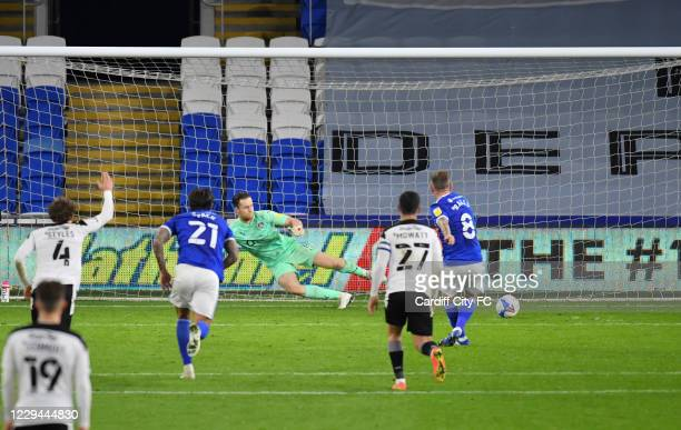 Joe Ralls scores the second for Cardiff City FC during the Sky Bet Championship match between Cardiff City and Barnsley at Cardiff City Stadium on...