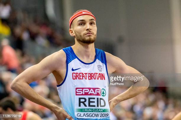 Joe Reid competing in the 800m Men event during day ONE of the European Athletics Indoor Championships 2019 at Emirates Arena in Glasgow Scotland...