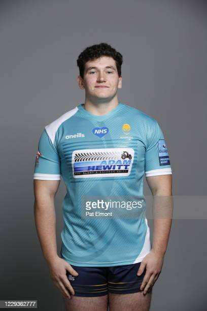 Joe Richardson poses for a portrait during the Worcester Warriors squad photo call for the 202021 Gallagher Premiership Rugby season on on October 28...