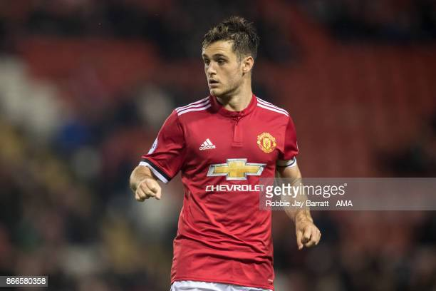 Joe Riley of Manchester United during the Premier League 2 fixture between Manchester United and Liverpool at Leigh Sports Village on October 23 2017...