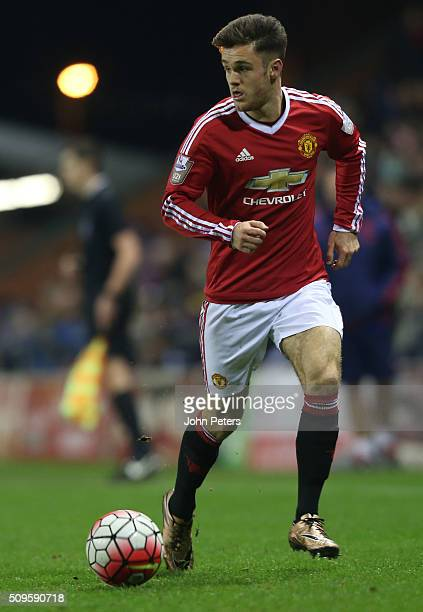 Joe Riley of Manchester United U21s in action during the U21 Premier League match between Manchester United U21s and Manchester City U21s at Leigh...